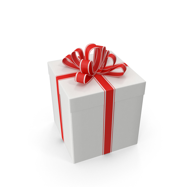 Gift Box With Red Ribbon Object