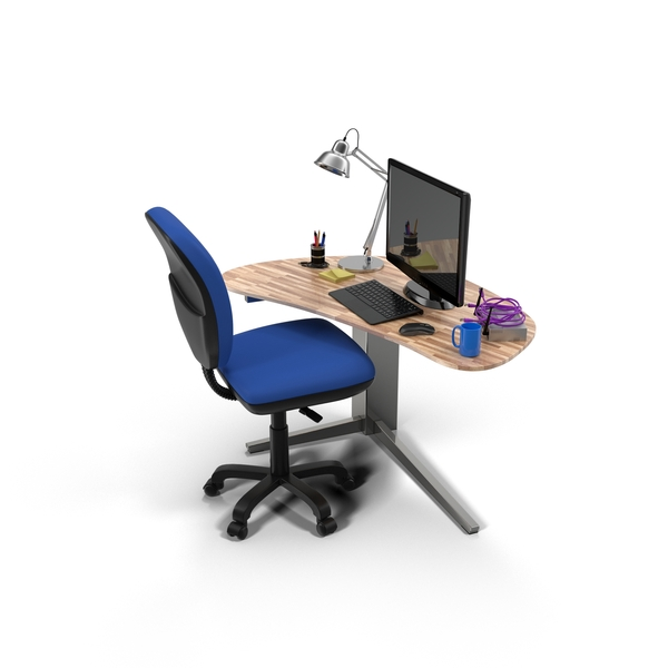 Office Desk and Accessories Object