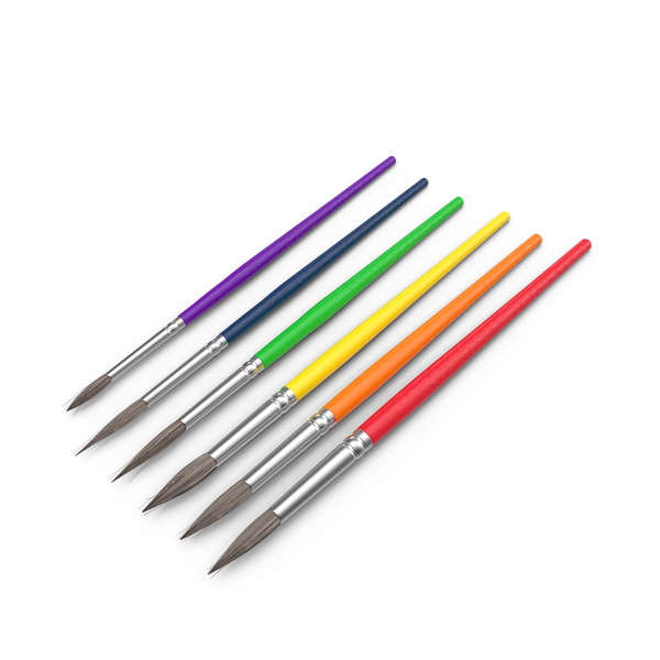 Multi-Colored Paint Brushes Object