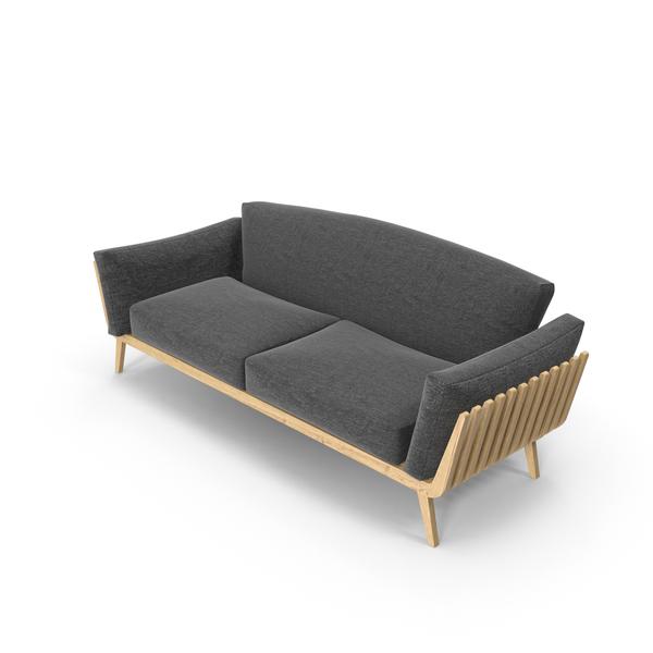 Dark Gray Wood Sofa Object
