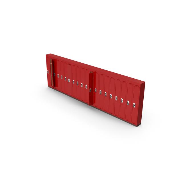 Row of open lockers Object