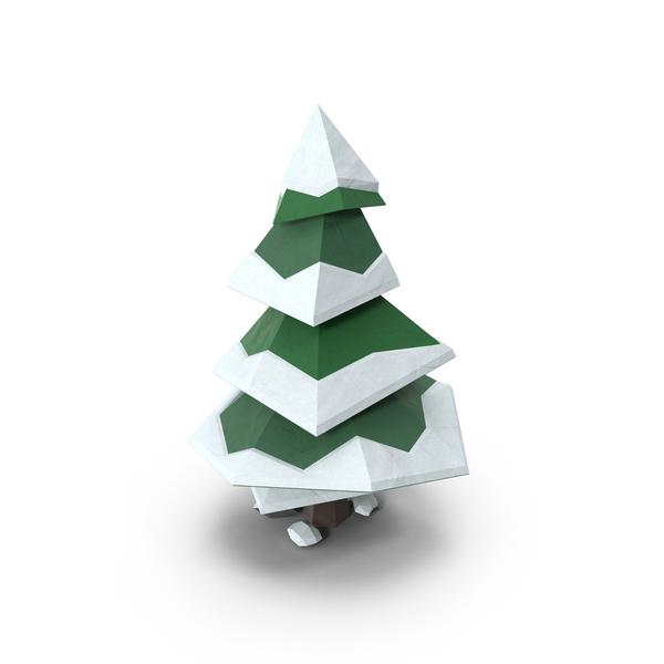 Low Poly Snowy Pine Object