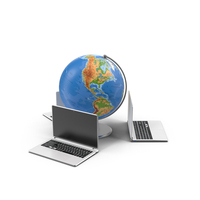 Globe and Laptops Object