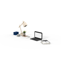 Book, Desk Lamp, Laptop and Office Supplies  Object