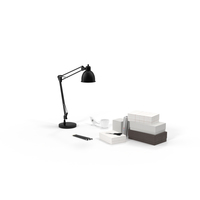 Desk Lamp and Office Supplies Object